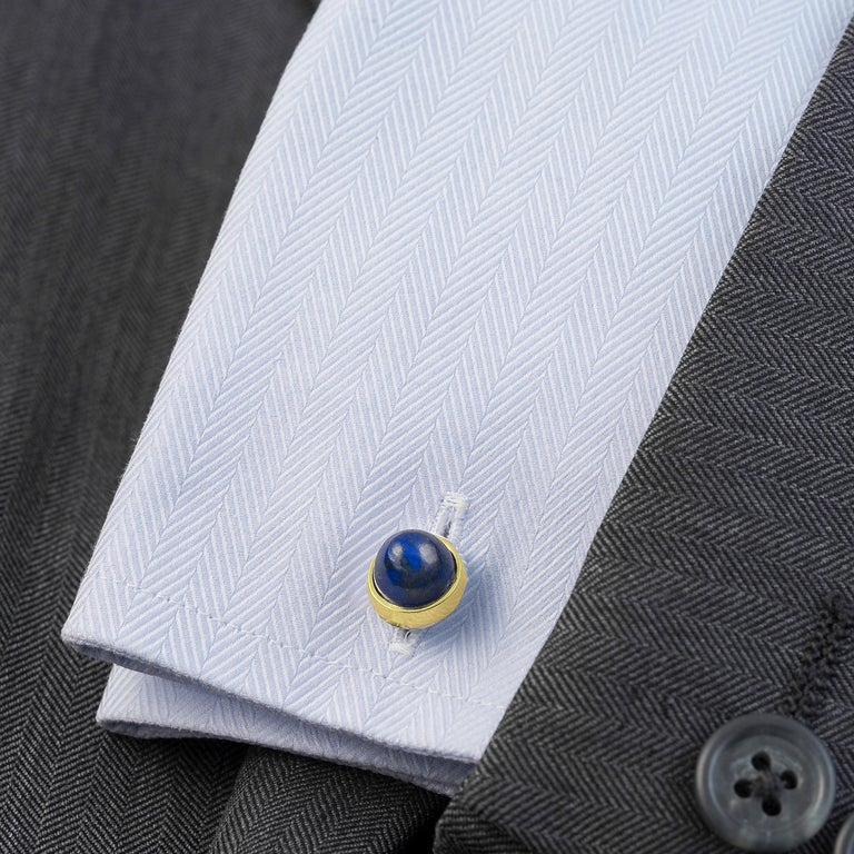 Made to order (**see below) 18k Gold and Lapis Lazuli cufflinks, designed and handmade by Alistair R in our United Kingdom workshop.   These double sided cufflinks incorporate four round cabochon stones (total 17 Carats) with a pointed dome shape in