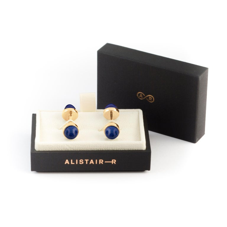 Men's LAPIS LAZULI and 18 Karat Gold Double Sided Cufflinks For Sale
