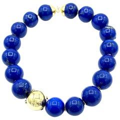 Lapis Lazuli and 18 Karat Yellow Gold Necklace