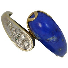 Lapis Lazuli and Diamond 14 Carat Gold Twist Ring
