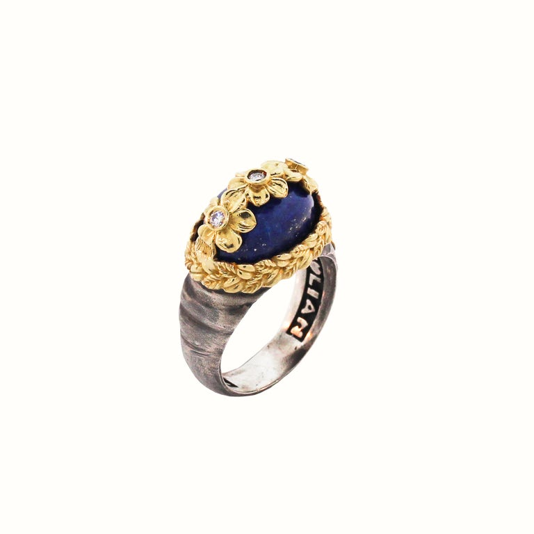 Women's Lapis Lazuli and Diamond Floral Ring with Sterling Silver and Gold Stambolian For Sale
