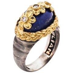 Lapis Lazuli and Diamond Floral Ring with Sterling Silver and Gold Stambolian