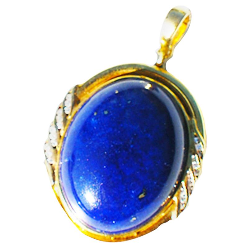Lapis Lazuli and Diamond Pendant Enhancer