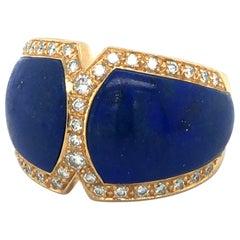 Lapis Lazuli and Diamond Ring by Péclard in 18 Karat Yellow Gold