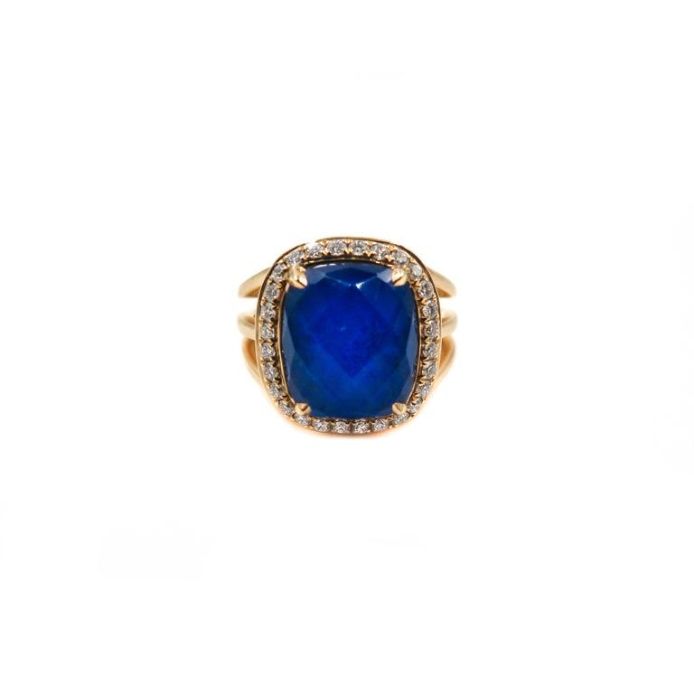 Artist Lapis Lazuli and Diamond Yellow Gold Ring For Sale