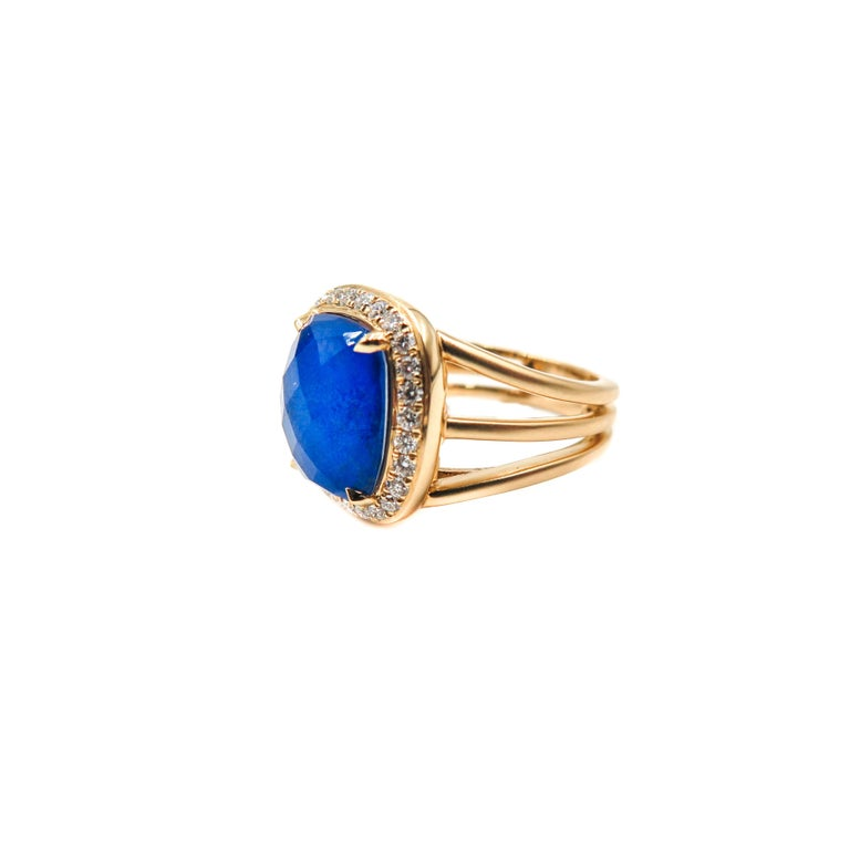 Lapis Lazuli and Diamond Yellow Gold Ring In New Condition For Sale In Greenwich, CT