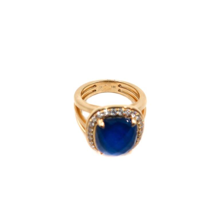 Women's Lapis Lazuli and Diamond Yellow Gold Ring For Sale