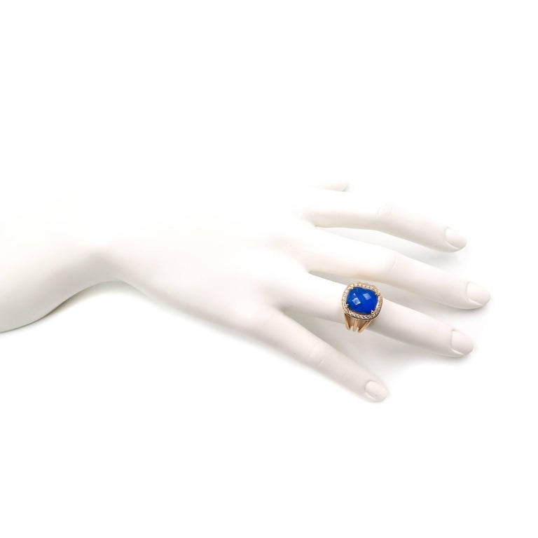 Lapis Lazuli and Diamond Yellow Gold Ring For Sale 2