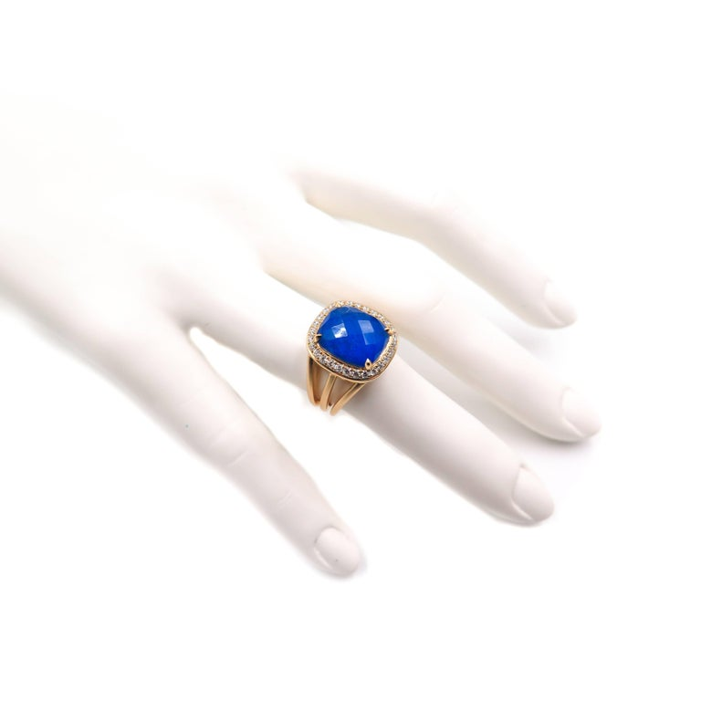 Lapis Lazuli and Diamond Yellow Gold Ring For Sale 3