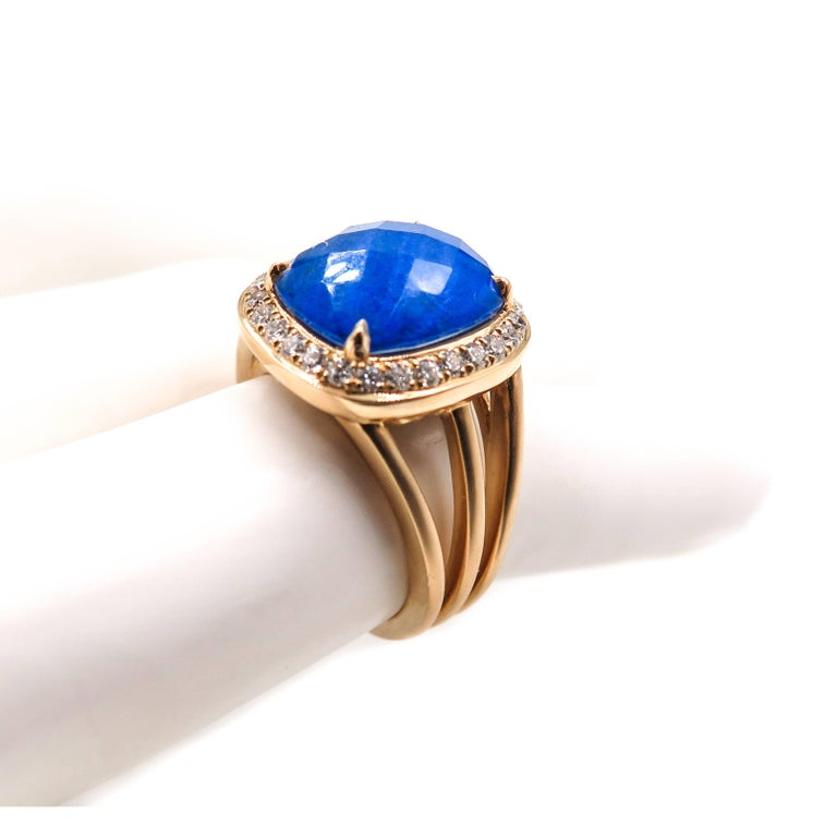 Lapis Lazuli and Diamond Yellow Gold Ring For Sale 4