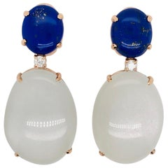 Lapis Lazuli and Moonstone with Diamonds on Pink Gold Chandelier Earrings