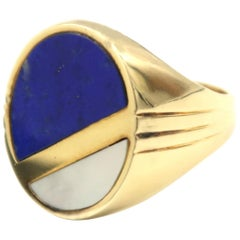 Lapis Lazuli and Mother of Pearl Oval Men's Signet Ring in 14 Karat Yellow Gold