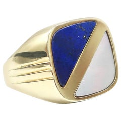 Lapis Lazuli and Mother of Pearl Rounded Square Men's Signet Yellow Gold Ring