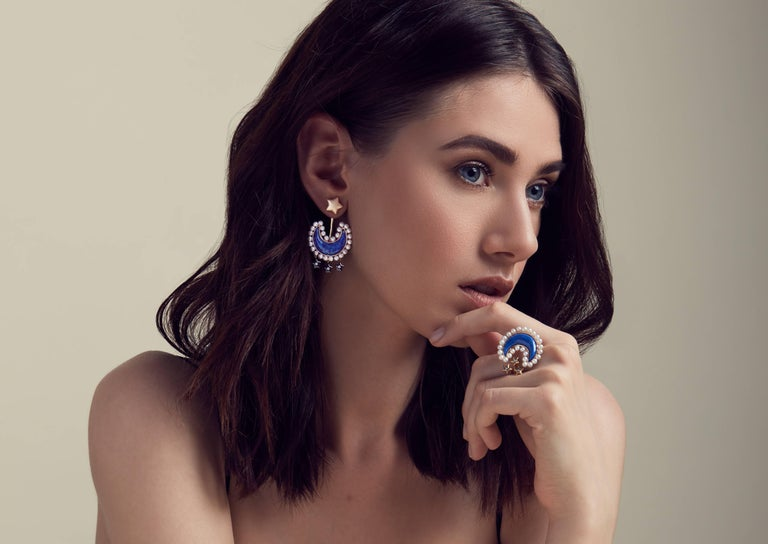 A unique and gorgeous design masterfully crafted in vermeil gold and black ruthenium, hand cut natural Lapis Lazuli and fresh water pearls earrings.Star studs can be worn separately.