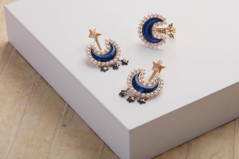 Contemporary Lapis Lazuli and Pearl Vermeil Gold Earrings For Sale