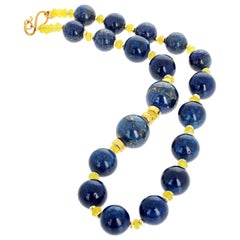 "Gemjunky  ""CEO Collection"" 20"" Glowing Lapis Lazuli & Peridot Power Necklace"