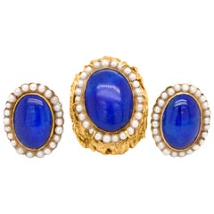 Lapis Lazuli and Seed Pearl Demi Parure