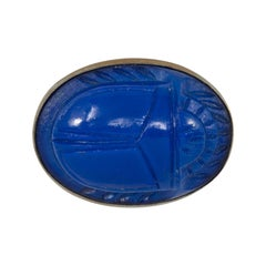 Lapis Lazuli Art Deco Carved Blue Scarab Cabochon Oval Bezel Pin Brooch