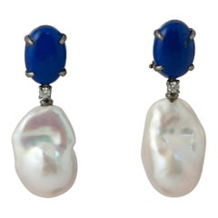 Lapis Lazuli, Baroque Pearl and White Diamonds Dangling Earrings in Black Gold