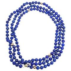 Lapis Lazuli Bead Necklace, 14 Karat 585 Gold Beads, Diamond Gold Clasp Rope