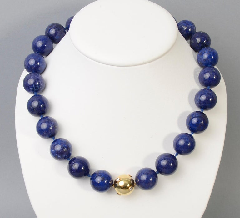 Modern Lapis Lazuli Bead Necklace with Diamonds Gold Ball For Sale