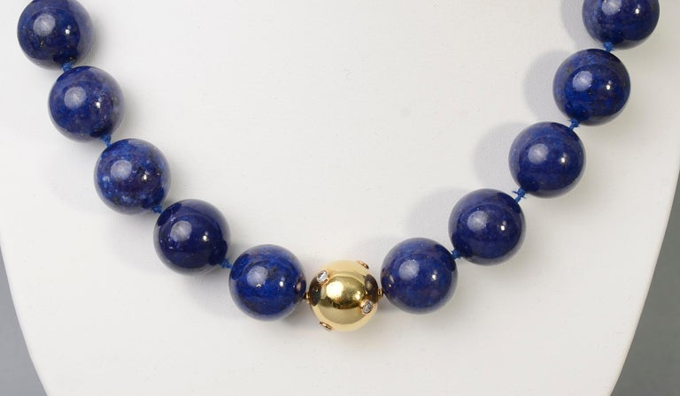 Lapis Lazuli Bead Necklace with Diamonds Gold Ball In Excellent Condition In Darnestown, MD