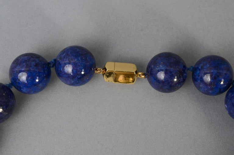Women's or Men's Lapis Lazuli Bead Necklace with Diamonds Gold Ball For Sale