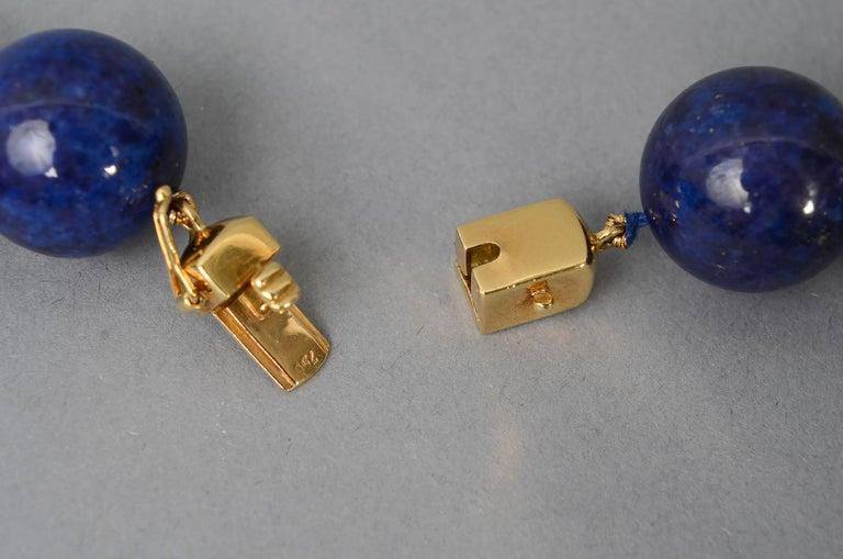 Lapis Lazuli Bead Necklace with Diamonds Gold Ball 1