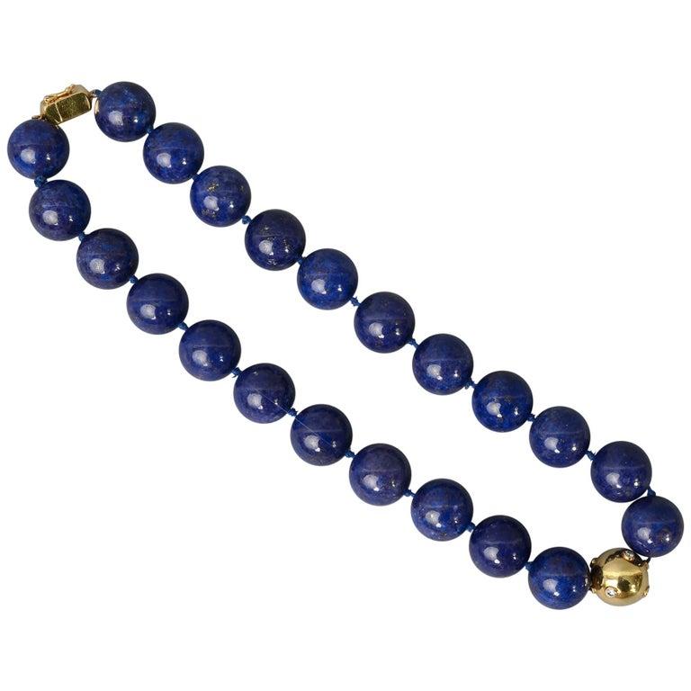 Lapis Lazuli Bead Necklace with Diamonds Gold Ball