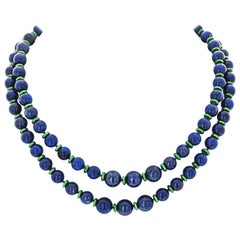 Lapis Lazuli Bead One Strand Collapsible Necklace by David Webb