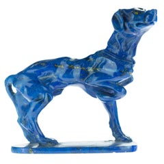 Lapis Lazuli Blue Dog Figurine Carved Animal Artisanal Statue Sculpture