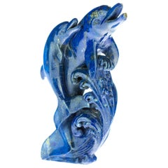 Lapis Lazuli Blue Dolphin Carved Animal Artisanal Eastern Statue Sculpture