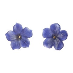 Lapis Lazuli Blue Flower Handmade 14 Karat Gold Italian Stud Handmade Earrings