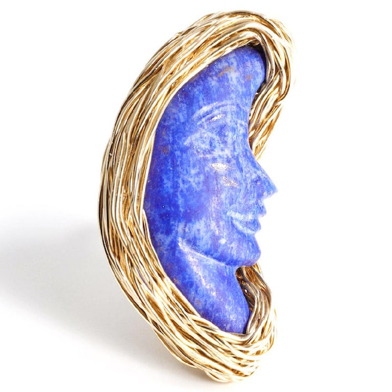 Lapis Lazuli Bluest Moon Design Ring Made in 14 Karat Gold Filled by the Artist For Sale 5