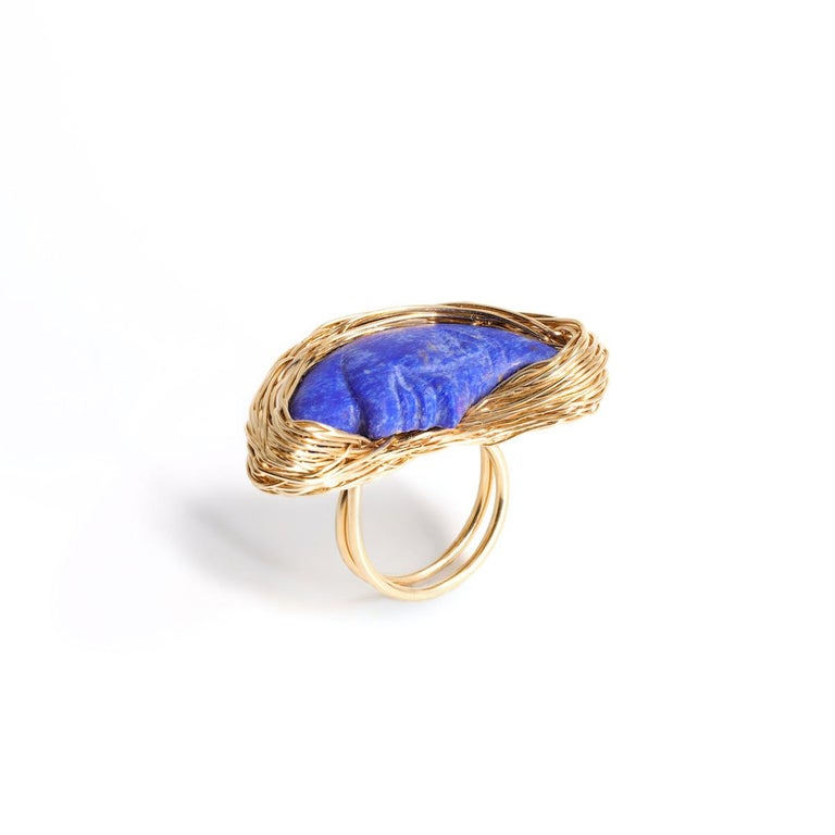 Lapis Lazuli Bluest Moon Design Ring Made in 14 Karat Gold Filled by the Artist In New Condition For Sale In Engelberg, CH