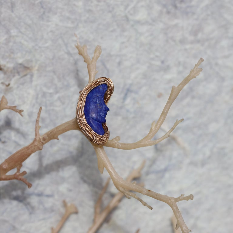 Women's or Men's Lapis Lazuli Bluest Moon Design Ring Made in 14 Karat Gold Filled by the Artist For Sale