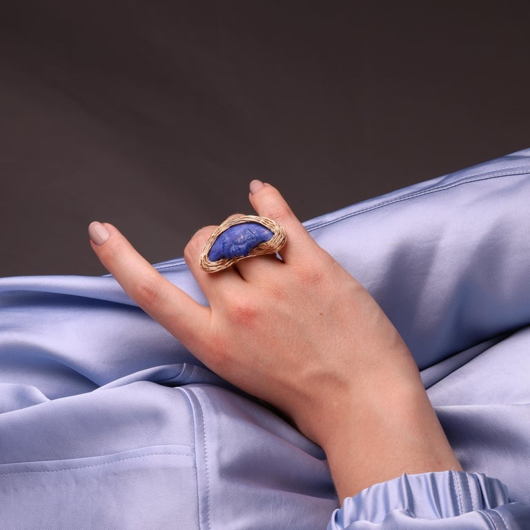 Lapis Lazuli Bluest Moon Design Ring Made in 14 Karat Gold Filled by the Artist For Sale 1