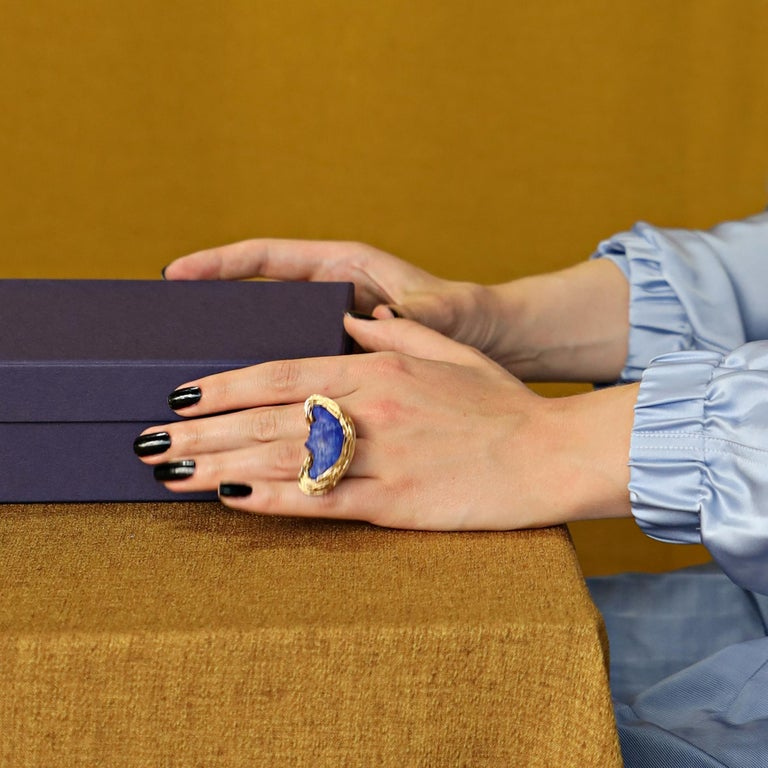 Lapis Lazuli Bluest Moon Design Ring Made in 14 Karat Gold Filled by the Artist For Sale 2