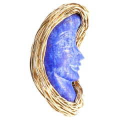 Lapis Lazuli Bluest Moon Design Ring Made in 14 Karat Gold Filled by the Artist