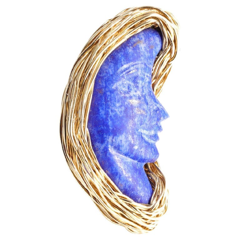 Lapis Lazuli Bluest Moon Design Ring Made in 14 Karat Gold Filled by the Artist For Sale