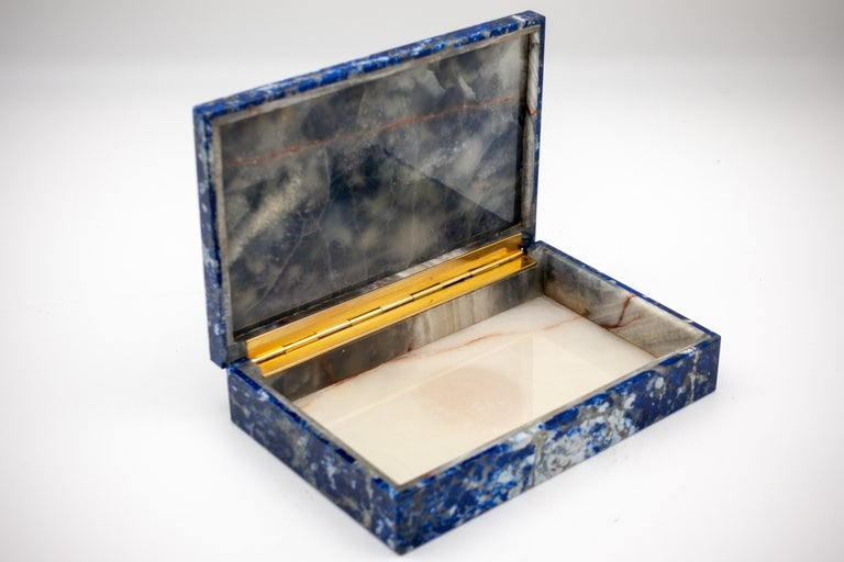 Grand Tour Sodalite Box with Hinged Lid For Sale