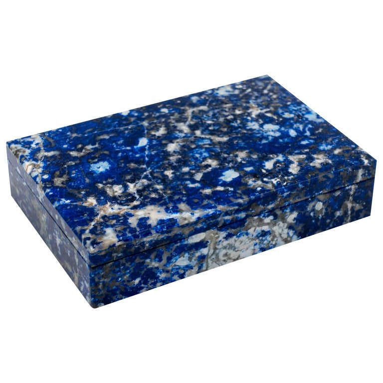 Sodalite Box with Hinged Lid For Sale