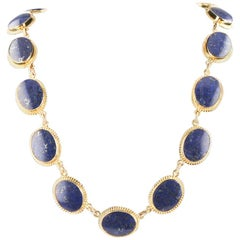 Lapis Lazuli Cabochon 14 Karat Yellow Gold Handmade Necklace