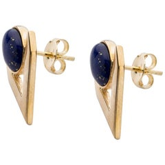 Lapis Lazuli Cabochon Earring Pair in 9 Carat Gold from Iosselliani