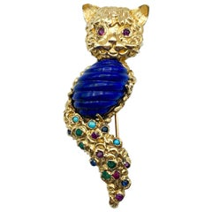 Lapis Lazuli Cat Brooch with Rubies Sapphires Persian Turquoise 18 Karat Gold