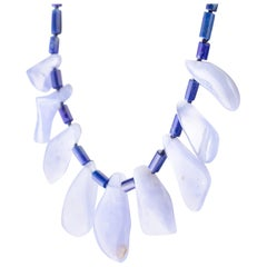 Lapis Lazuli Chalcedony Handmade Sterling Silver Tribal Warrior Bold Necklace