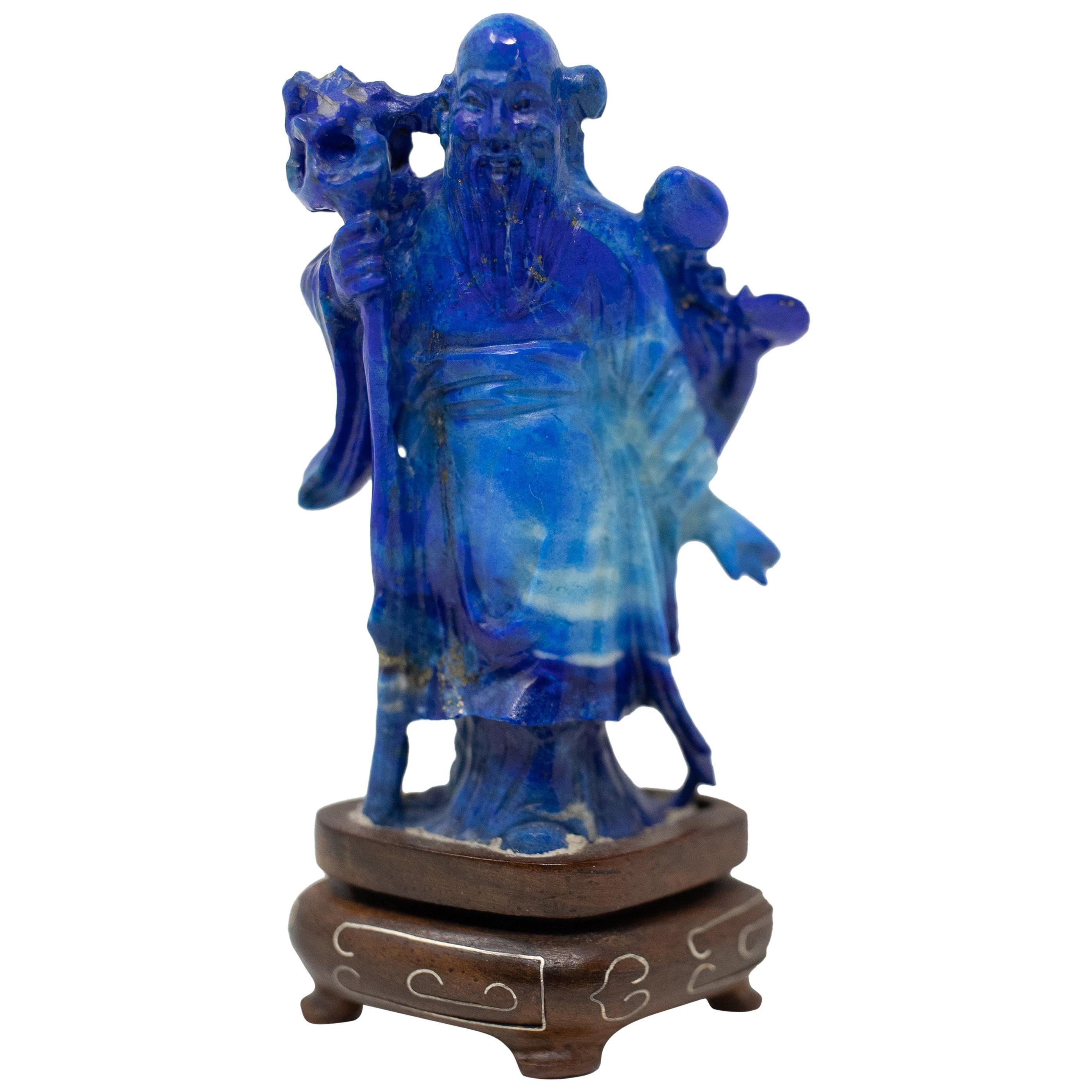 Lapis Lazuli Chinese Shou Lao Figure