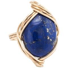 Lapis Lazuli Cocktail Ring Vintage 14 Karat Yellow Gold