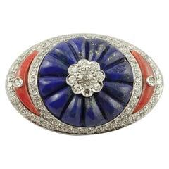 Lapis Lazuli, Coral, Diamonds, 14 Karat White Gold, Vintage Brooch