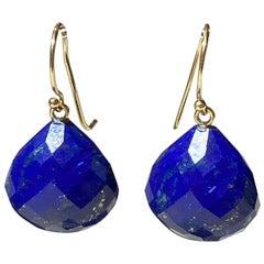 Lapis Lazuli Dangle Earrings in 14 Karat Yellow Gold